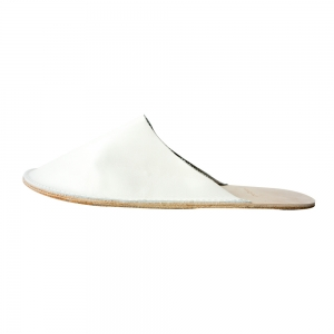 Out Stitch Leather Slipper (Ivory)