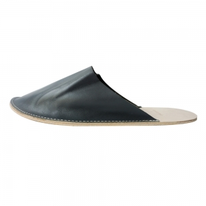 Out Stitch Leather Slipper (Dark Grey)