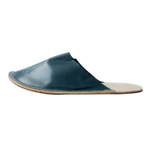 Out Stitch Leather Slipper (Dark Blue)